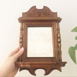 Wooden Wall Mirror Shelf Boho Decor Plant Holder